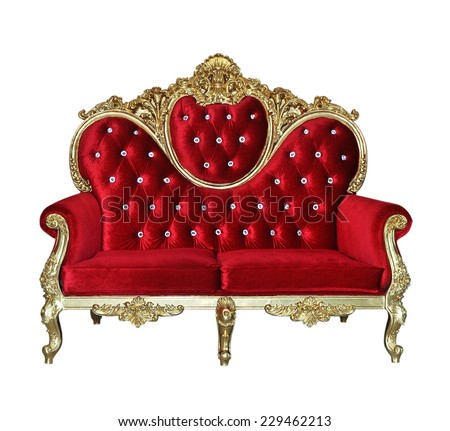 Red luxurious sofa on white background  - stock photo