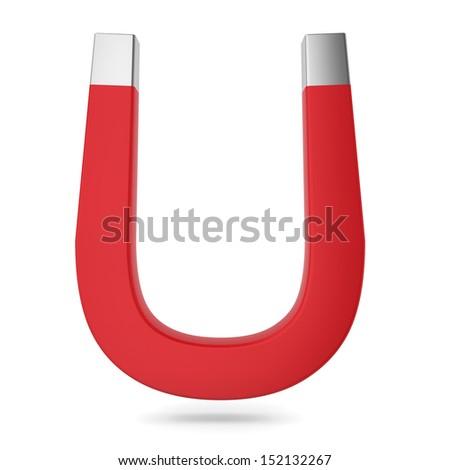 Red magnet. 3d illustration on white background - stock photo