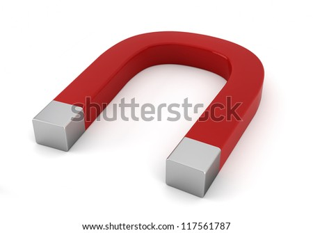 red magnet - 3d render on white - stock photo