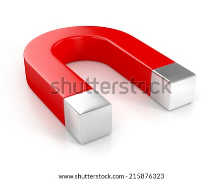 red magnet isolated on white background - stock photo