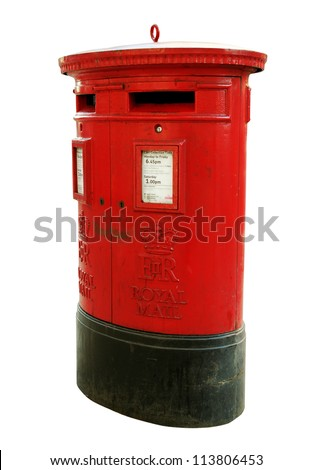 Red mail-box in London isolated on white surface. - stock photo