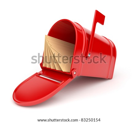 Red mail box with letters. 3D illustration isolated on white - stock photo