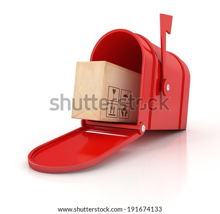 red mailbox with cardboard box. Delivery concept. 3D illustration isolated on white background - stock photo