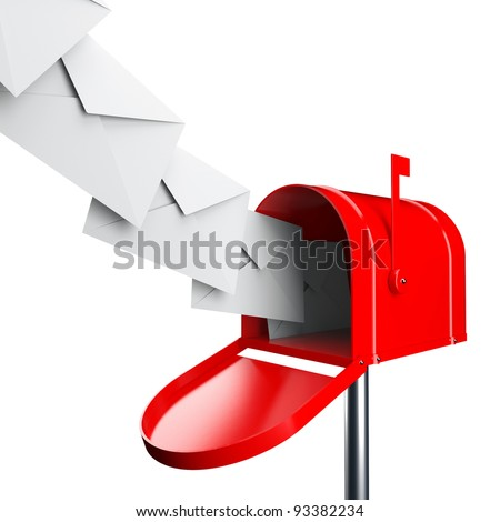 Red mailbox with letters isolated over white background - stock photo