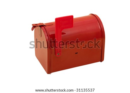 Red mailbox with the flag up sitting on a white background, mailbox - stock photo