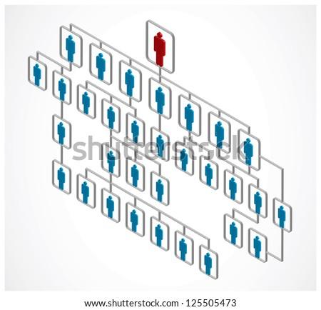 red man, leadership organization on white - stock photo