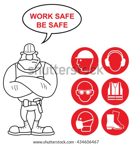 Red mandatory construction manufacturing and engineering health and safety signs to current British Standards with work safe be safe message isolated on white background - stock photo