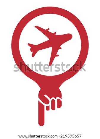 Red Map Pointer Icon With Aeroplane, Airplane, Airport, Landing Field, or Logistic Sign Isolated on White Background  - stock photo