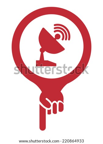 Red Map Pointer Icon With Satellite Station and Satellite Dish Service Sign Isolated on White Background  - stock photo