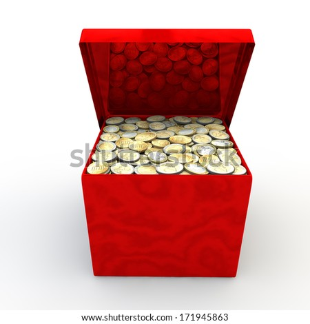 Red marble casket with coins on a white background - stock photo
