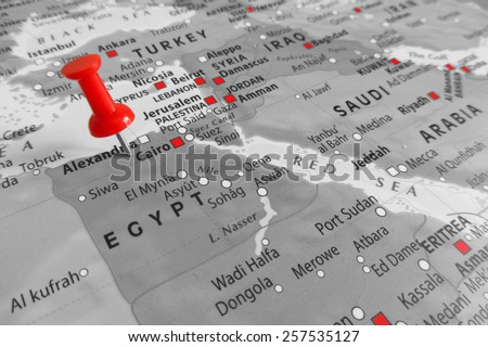 Red marker over Egypt - stock photo