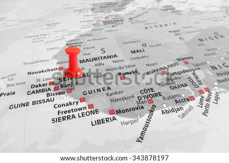 Red marker over Gambia - stock photo