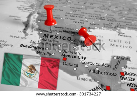 Red marker over Mexico - stock photo