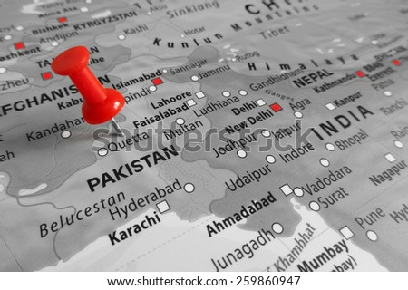Red marker over Pakistan - stock photo
