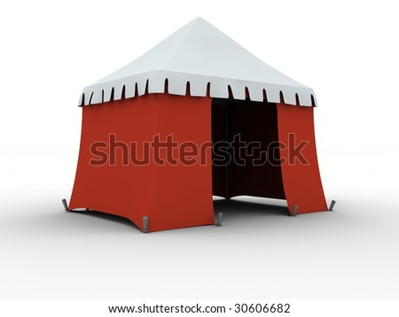 Red marquee isolated on white background - stock photo