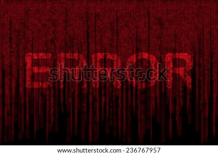 red matrix background, with motion blur, isolated on black background, with word ERROR - stock photo