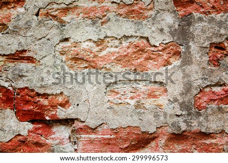 Red medieval brick wall background, old wall - stock photo