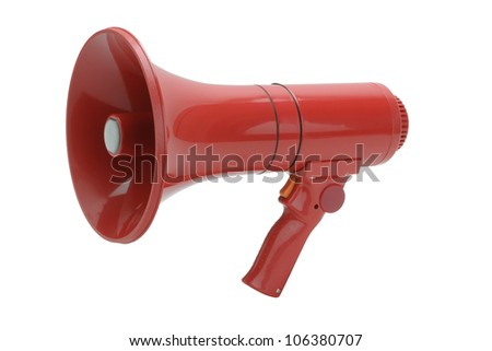 Red Megaphone handheld on white background - stock photo