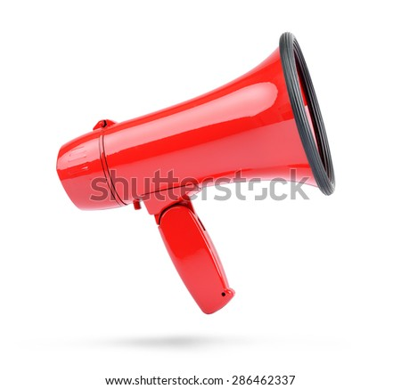 Red megaphone isolated on white background. File contains a path to isolation.  - stock photo