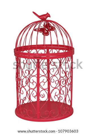Red Metal Birdcage isolated with clipping path - stock photo