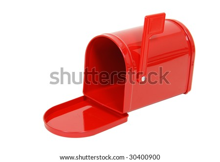 Red metal mailbox with signal flag with door open showing it is empty - path included - stock photo