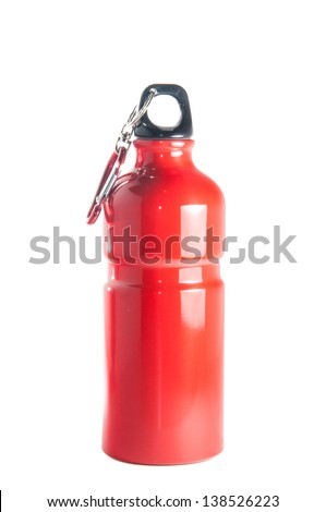 Red metal reusable, environment safe,sports bottle isolated over white background - stock photo