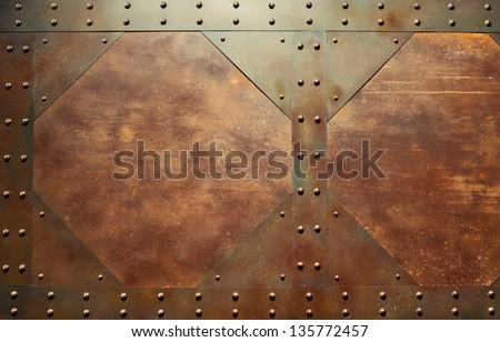 Red metal texture with rivets. - stock photo