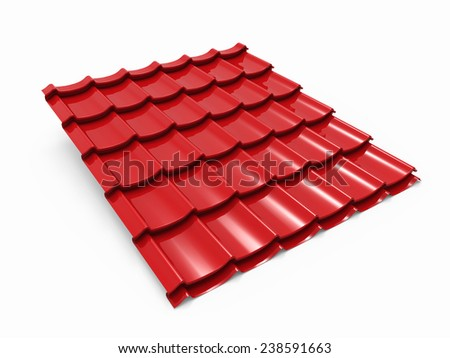 Red metal tile sheet isolated on white background. - stock photo