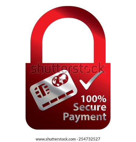 Red Metallic Key Lock Shape 100% Secure Payment Icon, Label, Sign or Sticker Isolated on White Background  - stock photo