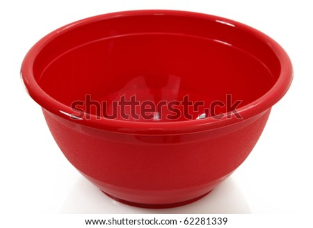 Red Mixing Bowl Isolated Over White - stock photo