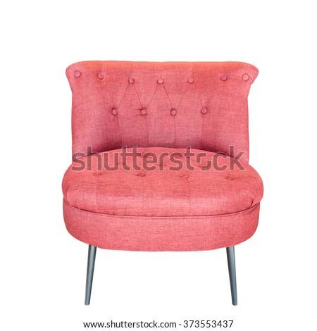 Red modern chair isolated on white background. This has clipping path. - stock photo