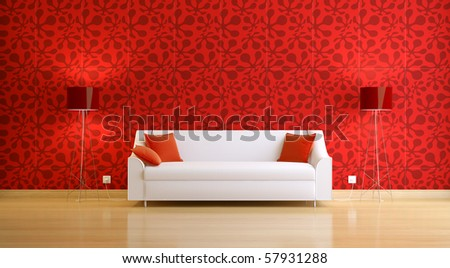 red modern 3d interior composition - stock photo