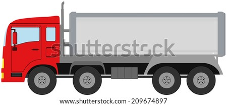red modern isolated truck on white background - stock photo