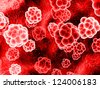 red molecules - stock photo