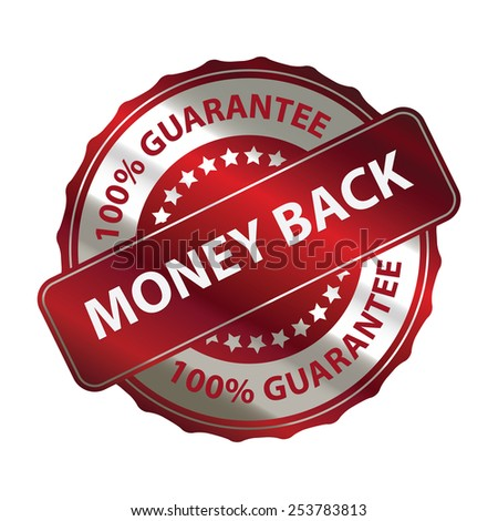 red money back 100% guarantee sticker, banner, sign, icon, label isolated on white - stock photo