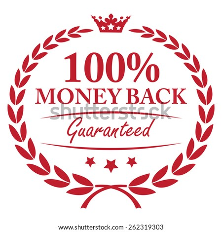 Red 100% Money Back Guaranteed Wheat Laurel Wreath, Label, Sticker or Icon Isolated on White Background - stock photo
