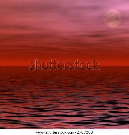 Red Moon - stock photo
