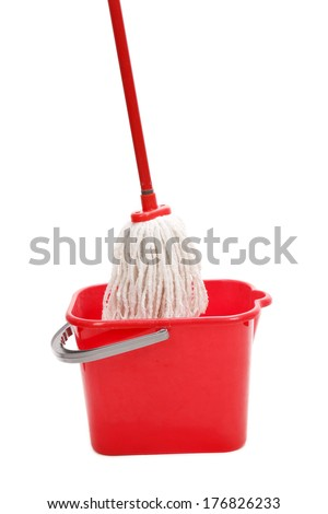 Red mop and bucket. Isolated on a white background. - stock photo