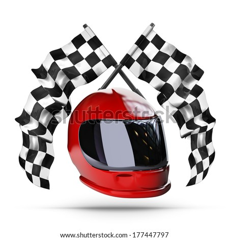Red moto helmet. Two crossed checkered flags isolated on white background High resolution 3d render  - stock photo