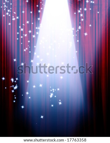 red movie or theater curtain with a center spotlight - stock photo