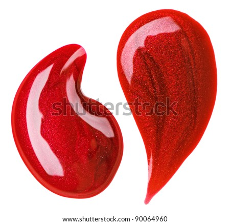 Red nail polish (enamel) drops sample, isolated on white - stock photo