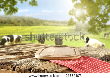 red napkin and kitchen desk and natural grass top place  - stock photo