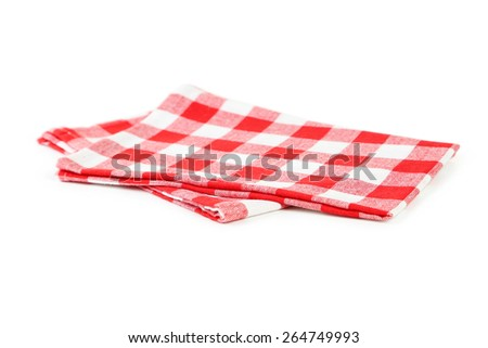 Red napkin isolated on white - stock photo