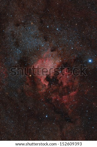 Red nebula in the night sky - stock photo