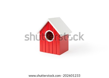 red nest box birdhouse house for birds isolated on white background with shadow - stock photo