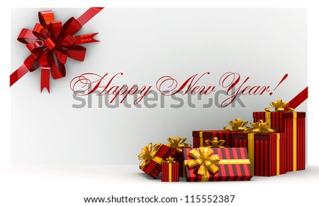 Red new-year postal, envelope with gifts and bow on white - stock photo