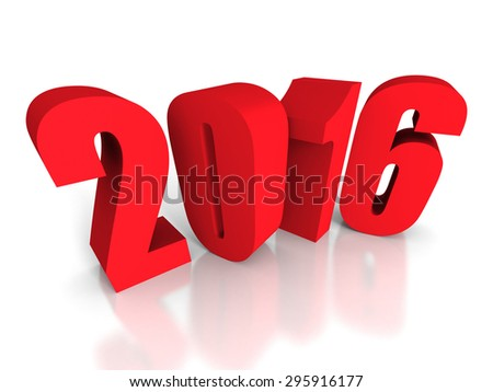 Red 2016 New Year Sign On White Background. 3d Render Illustration - stock photo