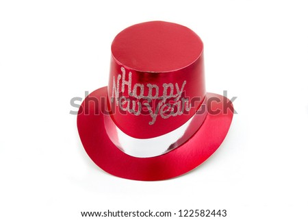 Red New Years party hat isolated - stock photo