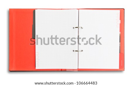 red notebook isolated with clipping path - stock photo