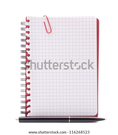 Red notebook with notice paper and pen isolated on white background cutout - stock photo
